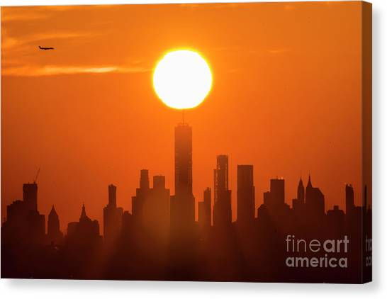 City Sunrises Canvas Print - New York City Sunrise by Zawhaus Photography