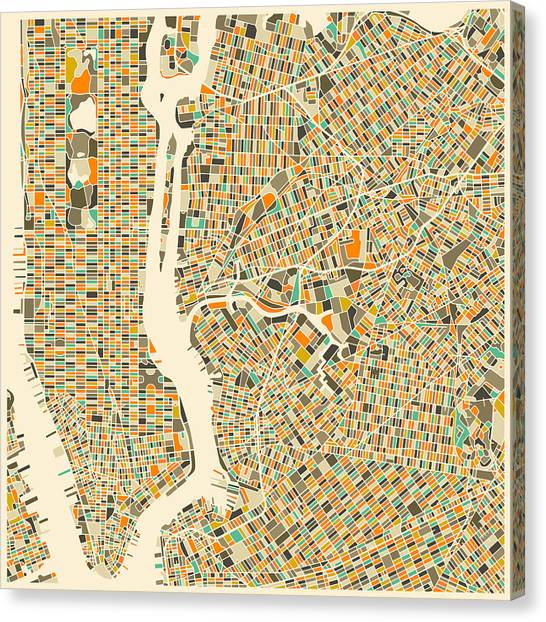 Artist Canvas Print - New York Map by Jazzberry Blue