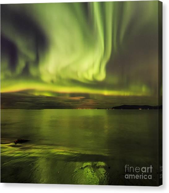 Northern Lights Reykjavik Canvas Print