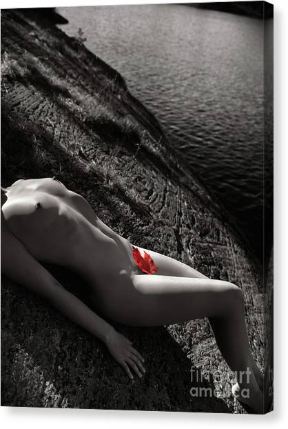 Maple Leaf Art Canvas Print - Nude Woman Lying On Rocks By The Water by Oleksiy Maksymenko