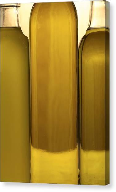 Olive Oil Canvas Print - 3 Olive Oil Bottles by Frank Tschakert