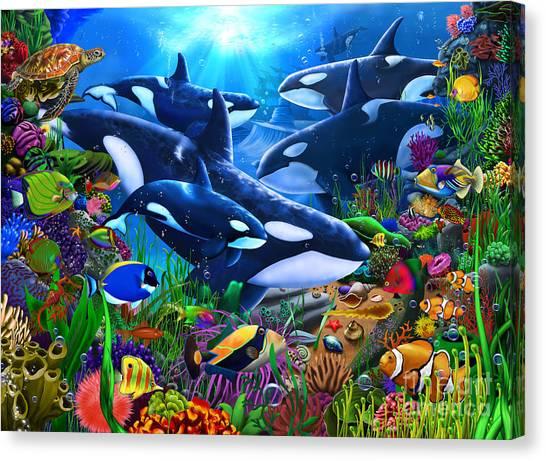 Orcas Canvas Print - Orcas Ocean Domain by Gerald Newton