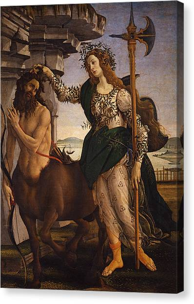 Centaurs Canvas Print - Pallas And The Centaur by Sandro Botticelli