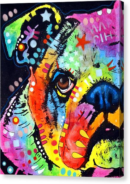 Pit Bull Canvas Print - Peeking Bulldog by Dean Russo Art