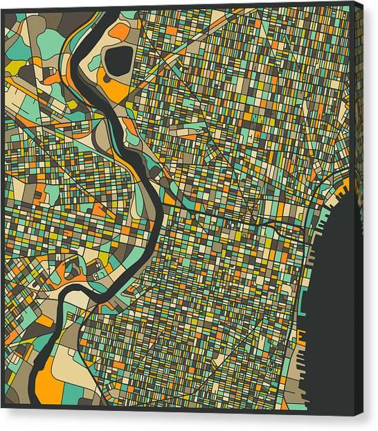 Philadelphia Canvas Print - Philadelphia Map by Jazzberry Blue