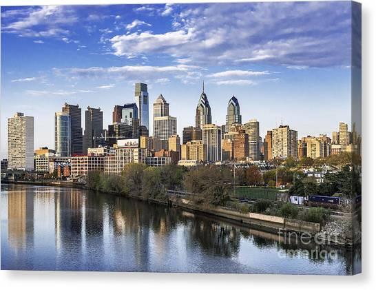 Philadelphia Phillies Canvas Print - Philadelphia Skyline by John Greim