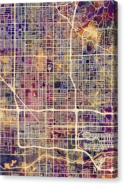 Phoenix Canvas Print - Phoenix Arizona City Map by Michael Tompsett
