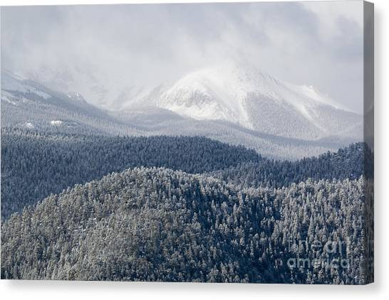 Pikes Peak In Snow Canvas Print