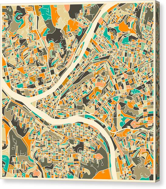 Canadian Artists Canvas Print - Pittsburgh Map by Jazzberry Blue