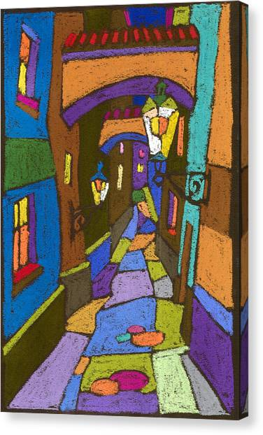 Street Canvas Print - Prague Old Street by Yuriy Shevchuk