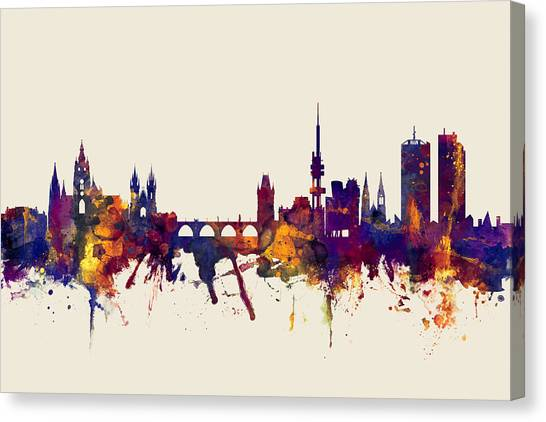 Prague Canvas Print - Prague Praha Czech Republic Skyline by Michael Tompsett