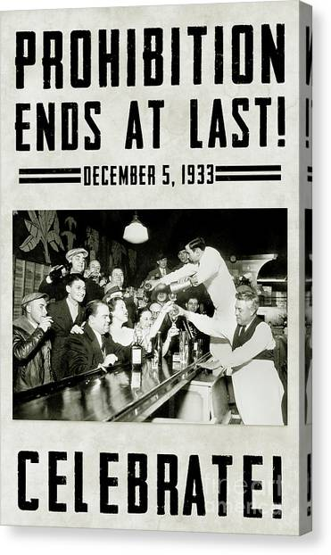 Bartender Canvas Print - Prohibition Ends Celebrate by Jon Neidert