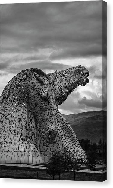 The kelpies canvas print proud by angela aird