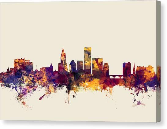 Rhode Island Canvas Print - Providence Rhode Island Skyline by Michael Tompsett