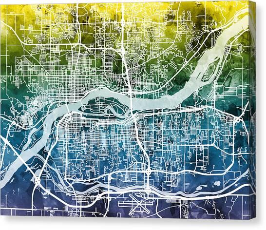 Iowa Canvas Print - Quad Cities Street Map by Michael Tompsett