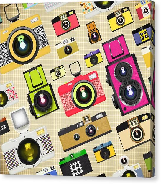 Analog Canvas Print - Retro Camera Pattern by Setsiri Silapasuwanchai