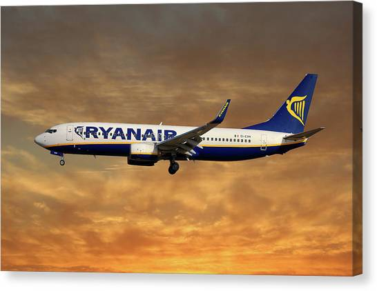 Boeing Canvas Print - Ryanair Boeing 737-8as by Smart Aviation