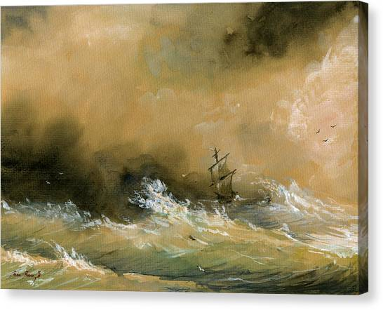 Ships Canvas Print - Sail Ship Watercolor by Juan  Bosco