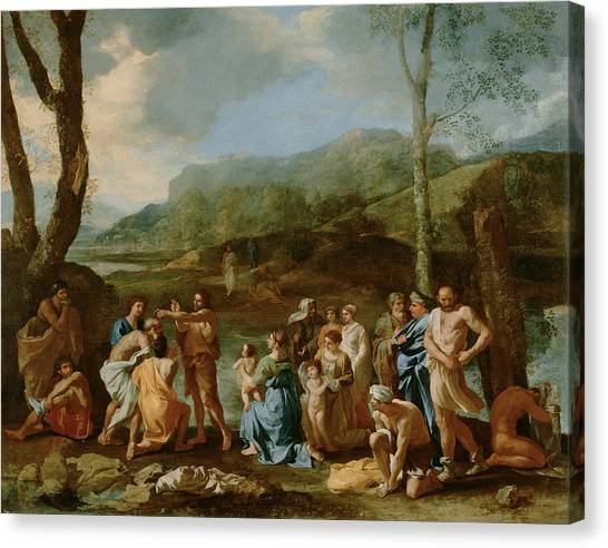 River Jordan Canvas Print - Saint John Baptizing In The River Jordan by Nicolas Poussin