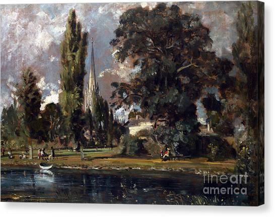 Peace Tower Canvas Print - Salisbury Cathedral And Leadenhall From The River Avon by John Constable