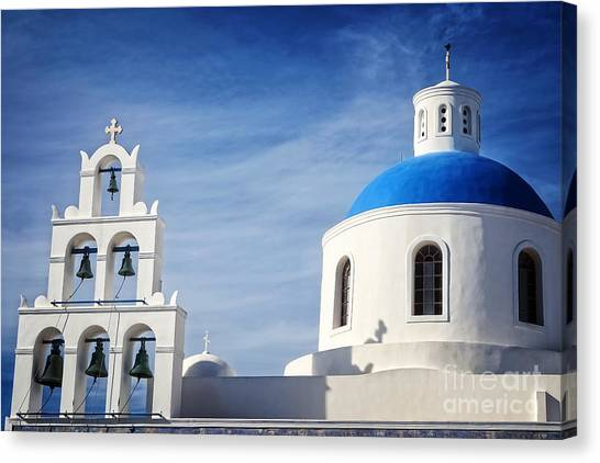 Orthodox Art Canvas Print - Santorini by HD Connelly