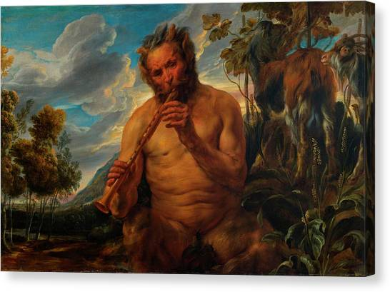 Faun Canvas Print - Satyr Playing The Pipe by Jacob Jordaens