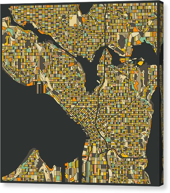 Seattle Canvas Print - Seattle Map by Jazzberry Blue