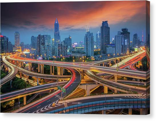 Shanghai Skyline Canvas Print - Shanghai Elevated Road Junction by Anek Suwannaphoom