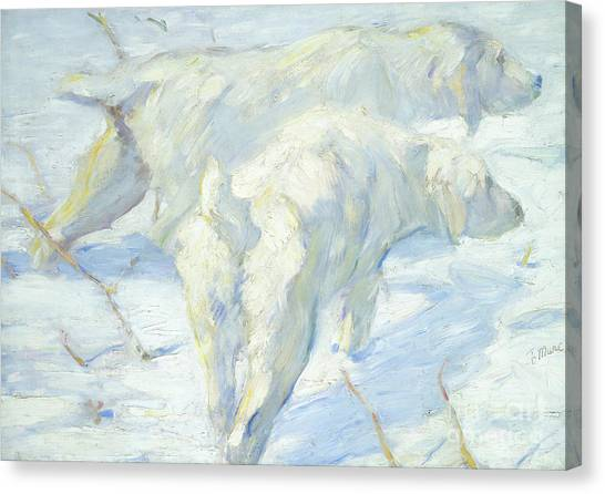 Dogs In Snow Canvas Print - Siberian Dogs In The Snow by Franz Marc