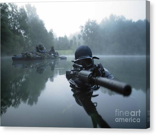 Rifles Canvas Print - Special Operations Forces Combat Diver by Tom Weber