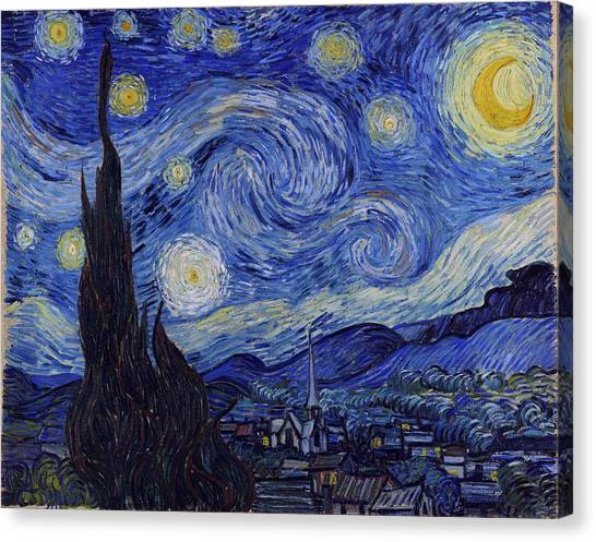Canvas Print featuring the painting Starry Night by Van Gogh