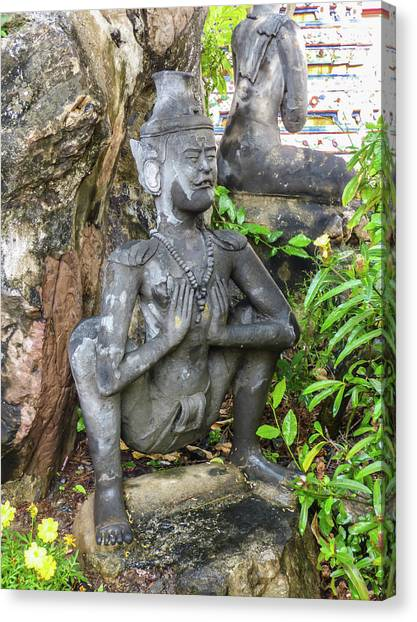 Statue Depicting A Thai Yoga Pose At Wat Pho Temple Canvas Print