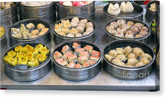 Stuffing Canvas Print - Steamers With Dim Sum Dishes by Yali Shi