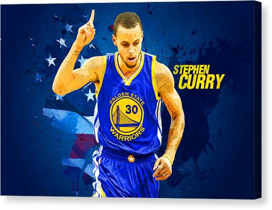 Dwight Howard Canvas Print - Stephen Curry by Semih Yurdabak