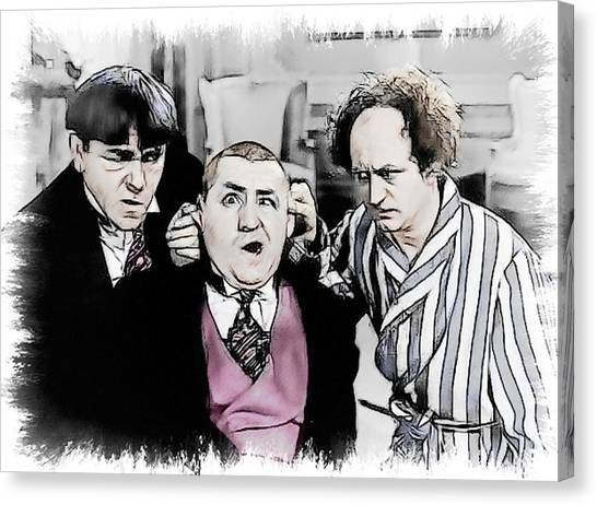 3 Stooges Can You Hear Me Now Canvas Print by Dwayne  Graham