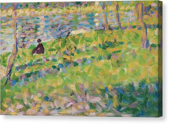 Pointillism Canvas Print - Study For Sunday Afternoon On The Island Of La Grande Jatte by Georges Pierre Seurat