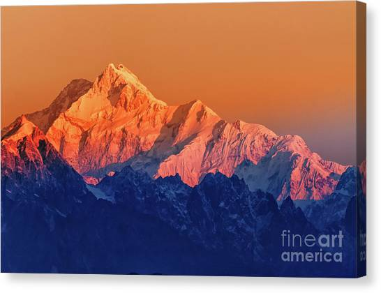 Kangchenjunga Canvas Print - Sunrise On Mount Kanchenjugha At Dawn Sikkim by Rudra Narayan Mitra