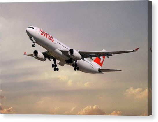 Jets Canvas Print - Swiss Airbus A330-343 by Smart Aviation