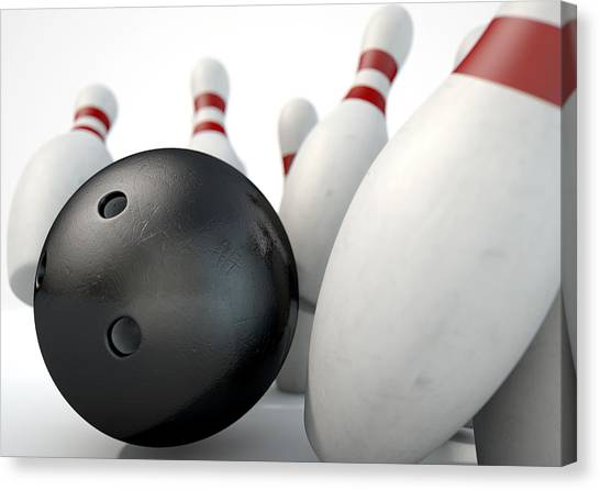 Bowling Pins Canvas Print - Ten Pin Bowling Pins And Ball by Allan Swart