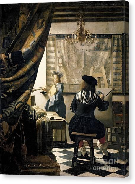 Restoration Canvas Print - The Artist's Studio by Jan Vermeer