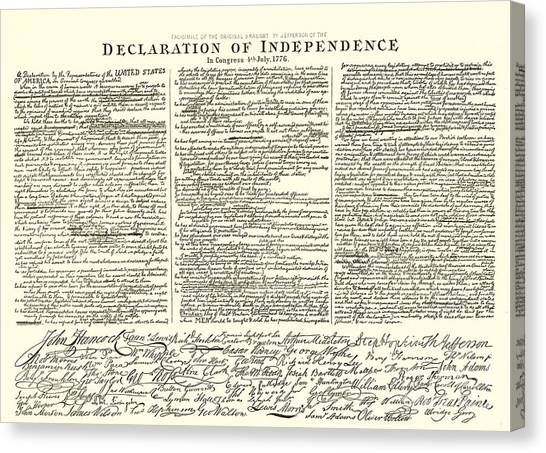 Signature Canvas Print - The Declaration Of Independence by American School