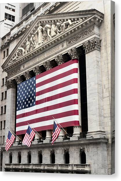 Flags Canvas Print - The Facade Of The New York Stock by Justin Guariglia