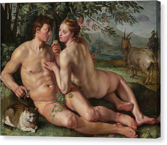 Early Christian Art Canvas Print - The Fall Of Man by Hendrik Goltzius