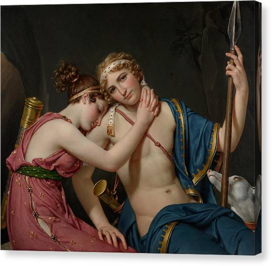 Neoclassical Art Canvas Print - The Farewell Of Telemachus And Eucharis by Jacques-Louis David