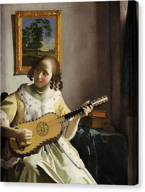 Music Genres Canvas Print - The Guitar Player by Johannes Vermeer