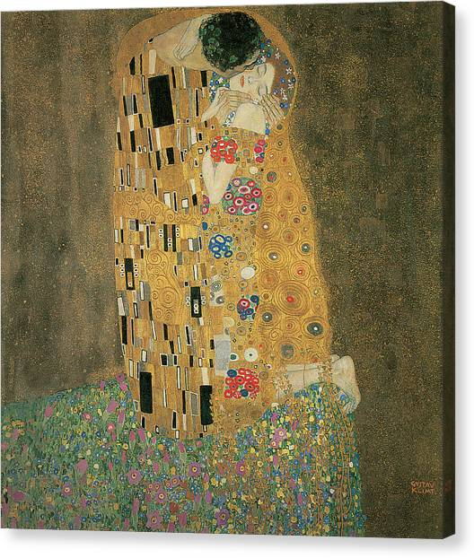 Love Canvas Print - The Kiss by Gustav Klimt