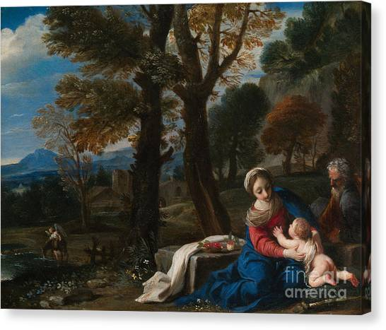 Nude Mom Canvas Print - The Rest On The Flight Into Egypt by Pier Francesco Mola