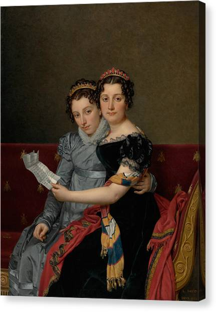 Neoclassical Art Canvas Print - The Sisters Zenaide And Charlotte Bonaparte by Jacques-Louis David