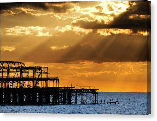 The West Pier In Brighton At Sunset Canvas Print