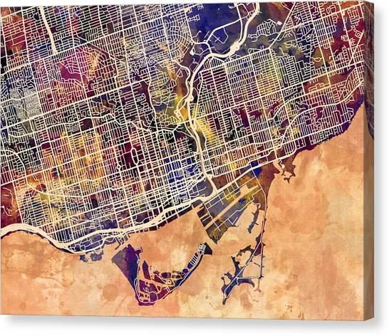 Ontario Canvas Print - Toronto Street Map by Michael Tompsett